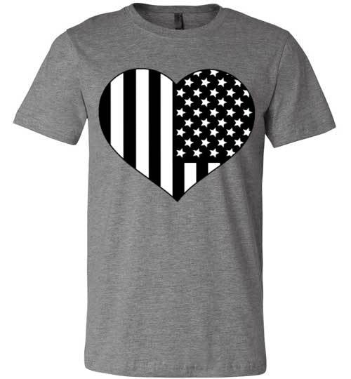 Black and White American Flag Heart Shirt | Unisex White T-Shirt | Eternal Weekend - 2