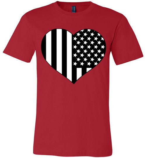Black and White American Flag Heart Shirt | Unisex White T-Shirt | Eternal Weekend - 3
