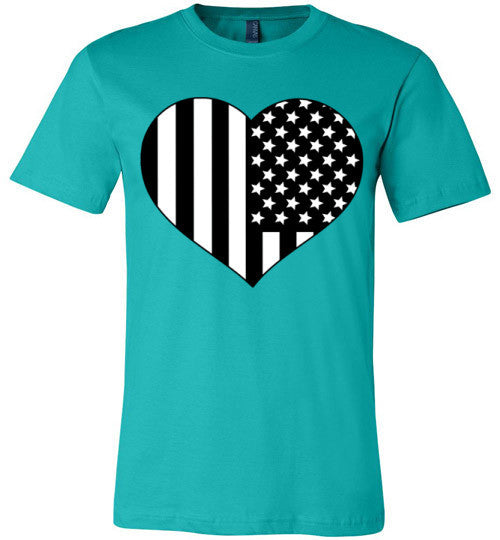 Black and White American Flag Heart Shirt | Unisex White T-Shirt | Eternal Weekend - 4