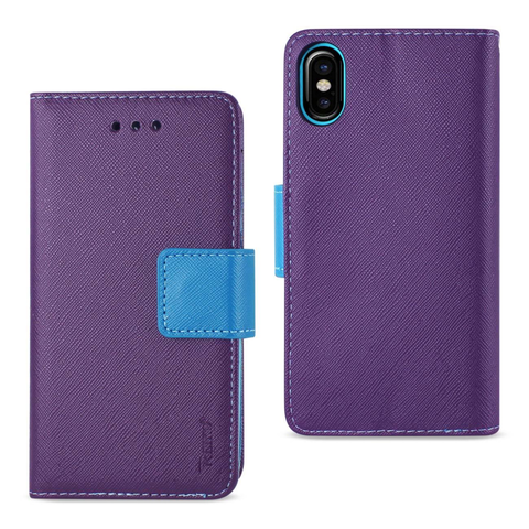 iPhone X 3-Pocket Purple Wallet Case
