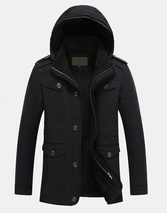 Mens Winter Hooded Military Style Coat
