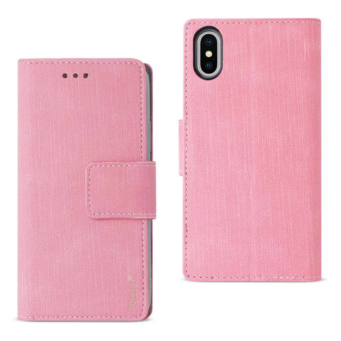 iPhone X Pink Denim Wallet Case w/ Soft Inner Shell & Kickstand