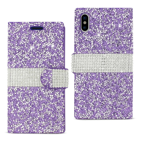 iPhone X Purple Diamond Rhinestone Wallet Case