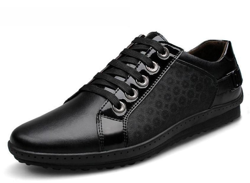 Mens Lace Up Fashion Black Flats