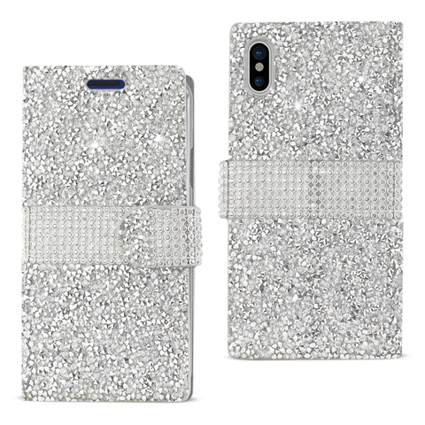 iPhone X Silver Diamond Rhinestone Wallet Case