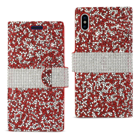 iPhone X Red Diamond Rhinestone Wallet Case