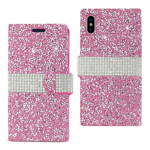 iPhone X Pink Diamond Rhinestone Wallet Case