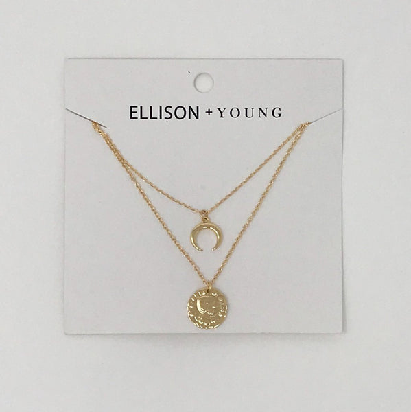 Golden Crescent Layered Necklace