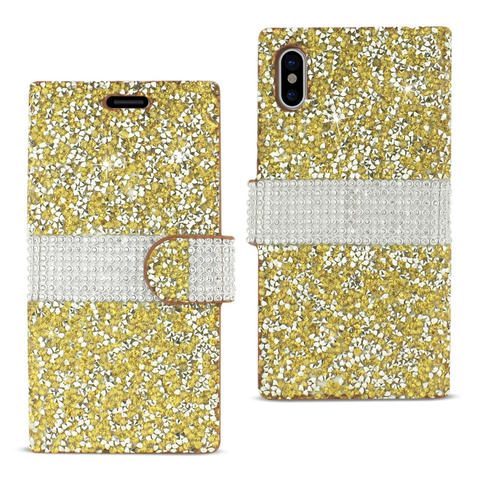 iPhone X Gold Diamond Rhinestone Wallet Case