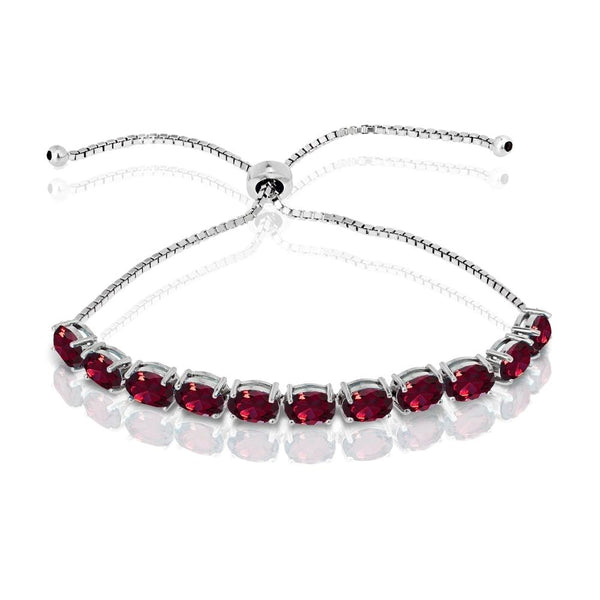 Sterling Silver Created Ruby 7x5mm Oval-cut Adjustable Tennis Bracelet
