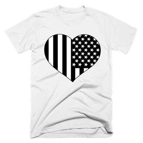 Black and White American Flag Heart Shirt | Unisex White T-Shirt | Eternal Weekend - 1
