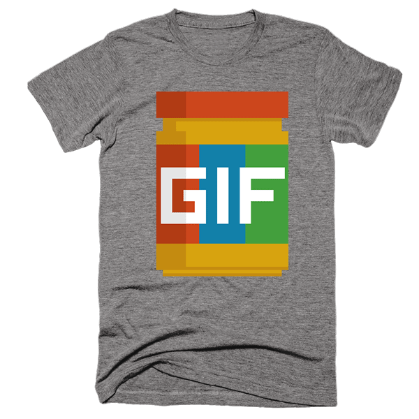Gif Peanut Butter 8-Bit | Unisex Gray T-Shirt | Eternal Weekend - 1