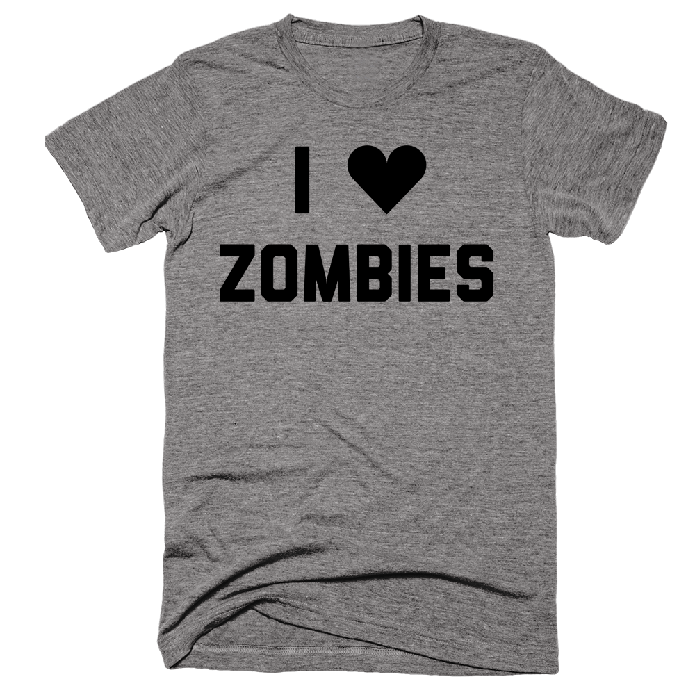 I Love Zombies | Unisex Gray T-Shirt | Eternal Weekend - 1