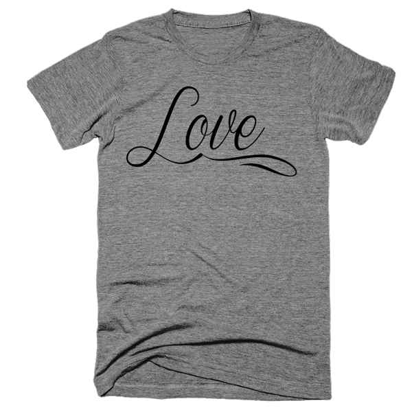 Love (script) | Unisex Gray T-Shirt | Eternal Weekend - 1