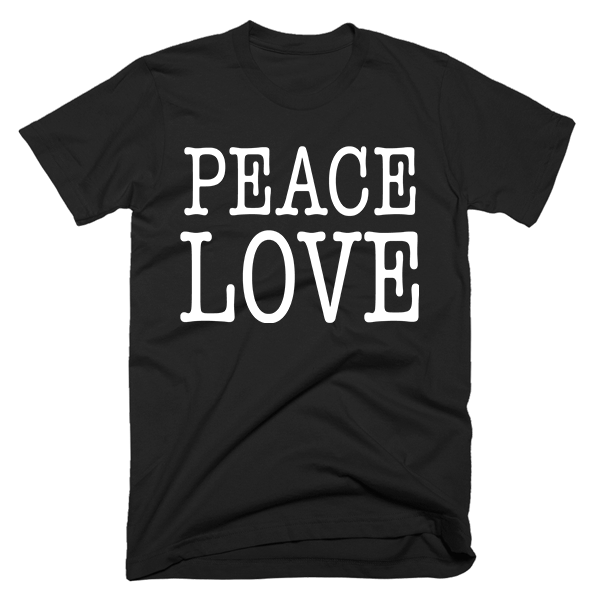 Peace Love | Unisex Black T-Shirt | Eternal Weekend - 1