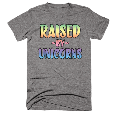 Raised By Unicorns | Unisex Gray T-Shirt | Eternal Weekend - 1