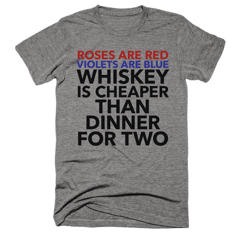Roses Are Red, Violets Are Blue Whiskey... | Unisex Gray T-Shirt | Eternal Weekend - 1