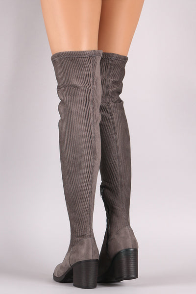 Bamboo Suede Stitchwork Chunky Heeled Riding OTK Boots
