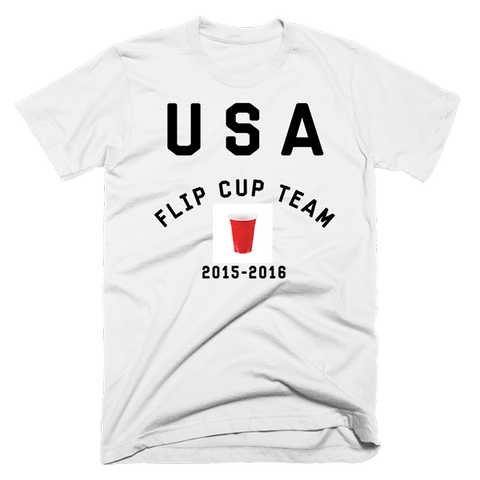 USA Flip Cup Team Shirt | Unisex White T-Shirt | Eternal Weekend - 1