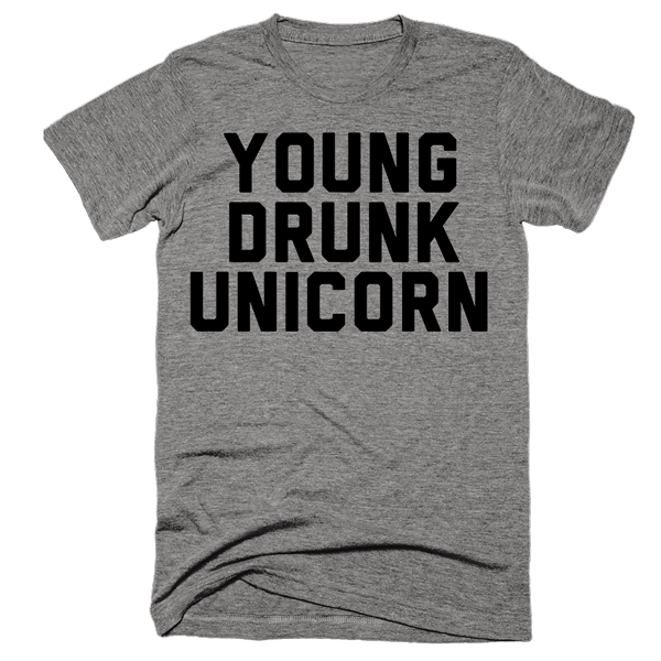 Young Drunk Unicorn | Unisex Gray T-Shirt | Eternal Weekend - 1