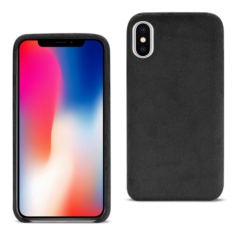iPhone X Fuzzy Black Fur Case