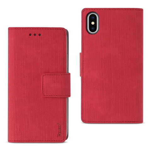 iPhone X Red Denim Wallet Case w/ Soft Inner Shell & Kickstand