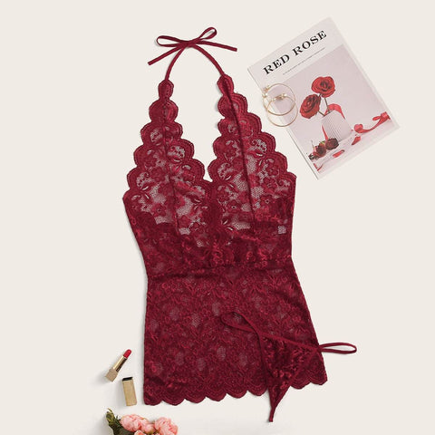 Floral Lace Plunge Halter Dress With Thong