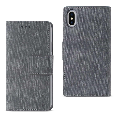iPhone X Gray Denim Wallet Case w/ Soft Inner Shell & Kickstand
