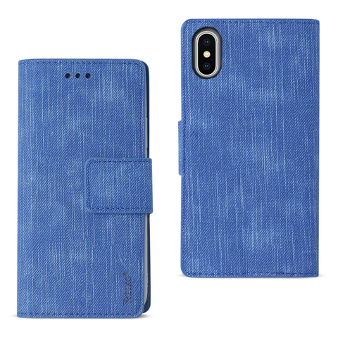 iPhone X Navy Denim Wallet Case w/ Soft Inner Shell & Kickstand