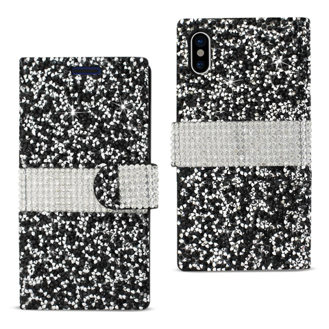 iPhone X Black Diamond Rhinestone Wallet Case