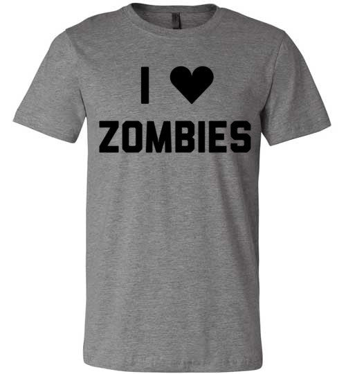 I Love Zombies | Unisex Gray T-Shirt | Eternal Weekend - 2