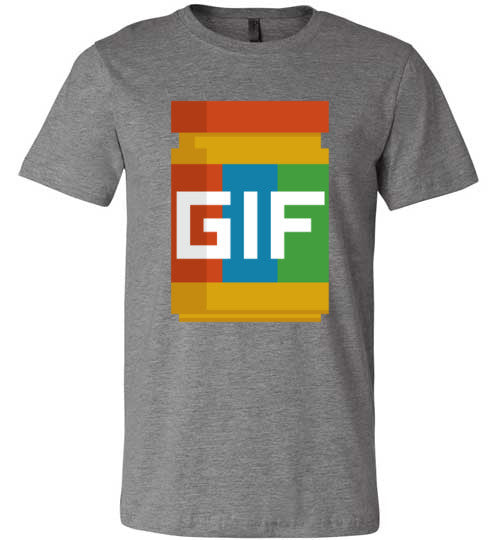 Gif Peanut Butter 8-Bit | Unisex Gray T-Shirt | Eternal Weekend - 4