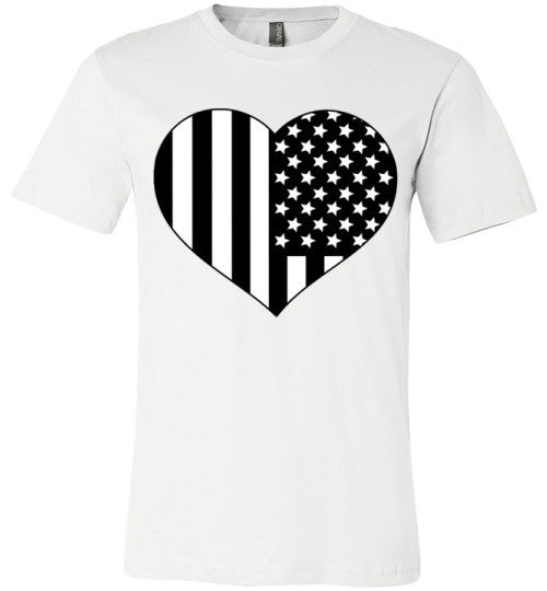 Black and White American Flag Heart Shirt | Unisex White T-Shirt | Eternal Weekend - 5