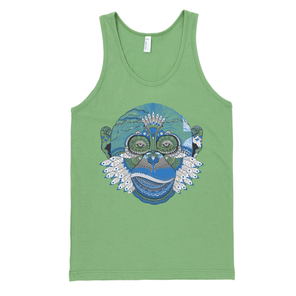 Blue Monkey Tank (Arnie Glesper Collection) | Unisex White Tank | Eternal Weekend - 3
