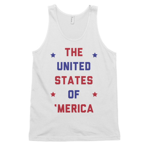 The United States of 'Merica Tank | Unisex White Tank | Eternal Weekend - 1