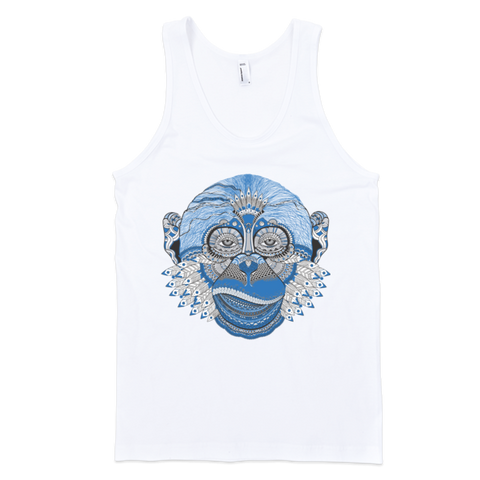 Blue Monkey Tank (Arnie Glesper Collection) | Unisex White Tank | Eternal Weekend - 1