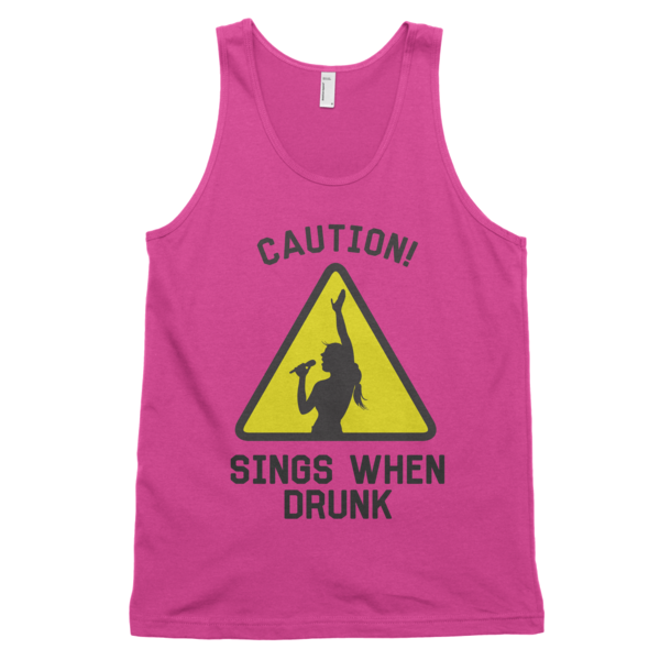 Caution Sings When Drunk Tank Top | unisex coral Tank | Eternal Weekend - 1