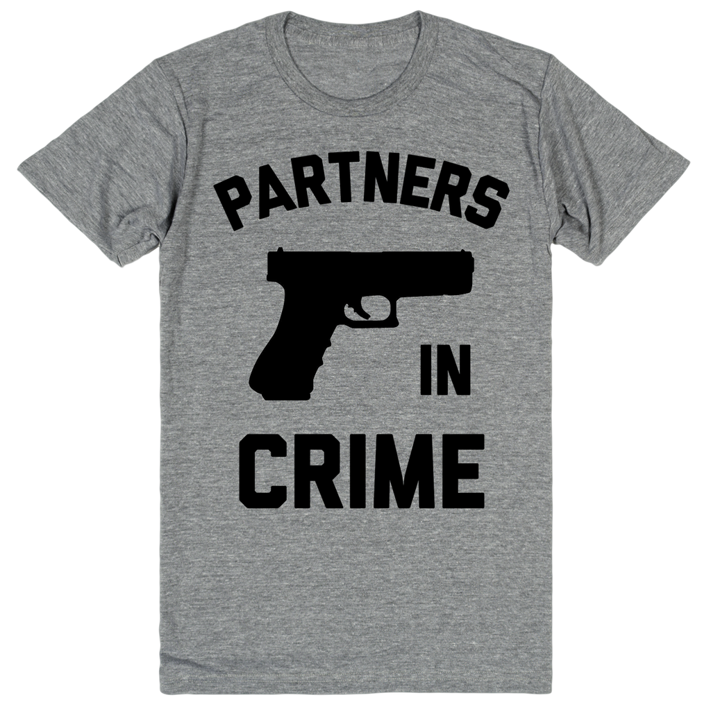 Partners in Crime - Best Friend Shirts - BFF 1 of 2 | Unisex Gray T-Shirt | Eternal Weekend - 1