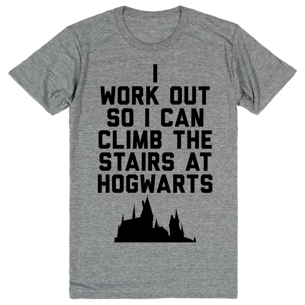 Harry Potter - I Workout So I Can Climb the Stairs at Hogwarts | Unisex Gray T-Shirt | Eternal Weekend - 1