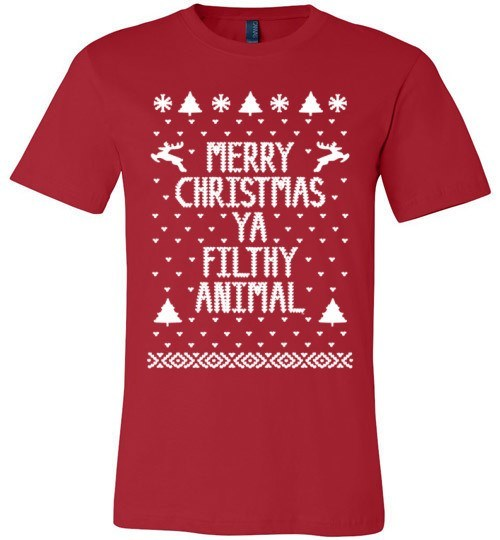 Merry Christmas Ya Filthy Animal | Unisex Red T-Shirt | Eternal Weekend - 1