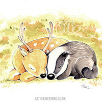 Stag and Badger commission by Cat Byrne