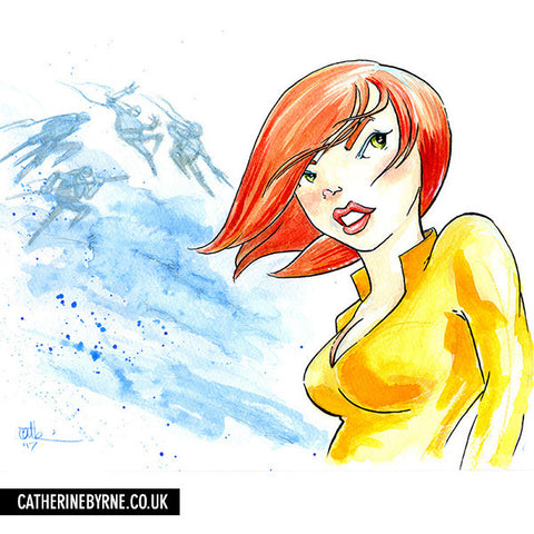April O'Neil ink and watercolor by Cat Byrne