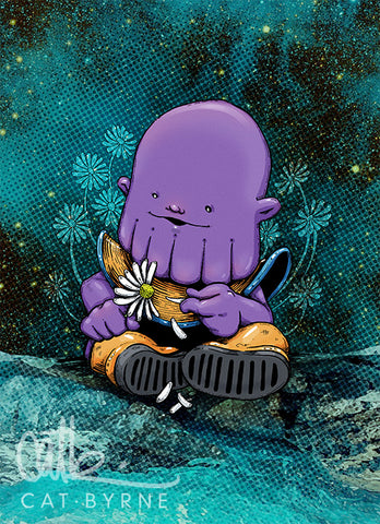 Baby Thanos - chibi art print by Cat Byrne