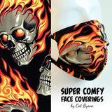 Flaming Skulls Face Covering