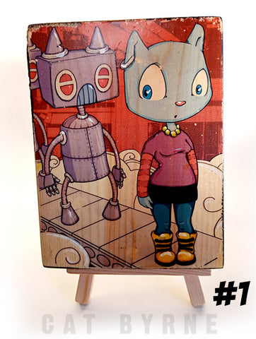 Mizzle and Robots - print on wood