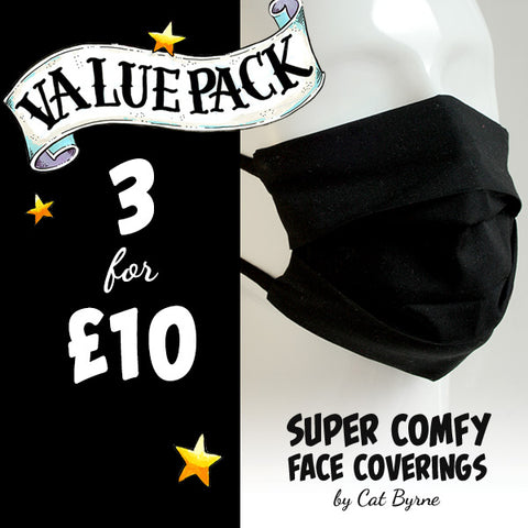 Value pack of 3 face coverings