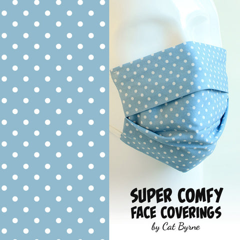 Powder Blue Polka Dot Face Covering