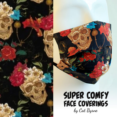 Skull and Roses Face Covering