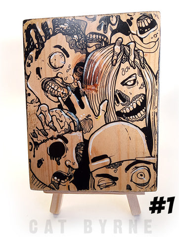 Zombies - print on wood