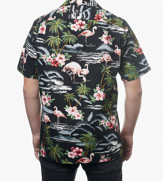 Hawaii skjorte - Sort m. Flamingoer og palmer 2